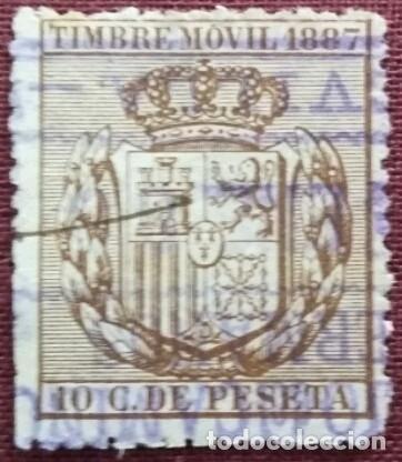 ESPAÑA. SELLOS FISCALES. TIMBRE MÓVIL, 1887. 10 CTS. CASTAÑO. (Sellos - España - Alfonso XII de 1.875 a 1.885 - Usados)