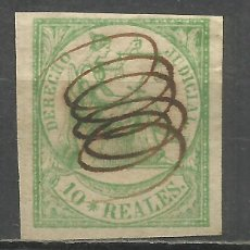Sellos: 406-SELLO CLASICO AÑO 1865 10 REALES JUSTICIA COLONIAS ESPAÑOLAS ULTRAMAR FILIPINAS PUERTO RICO SELL. Lote 143046782