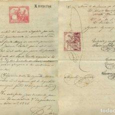 Sellos: 1884,FISCAL POLIZA DE 15 PTAS (ALEMANY 275) SOBRE PAPEL SELLADO, COMO TASA COMPLEMENTARIA . Lote 143112646