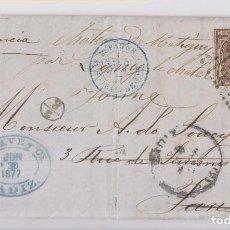 Sellos: CARTA ENTERA DE CÁDIZ A PARÍS Y A LYON. 1876. VER DORSO. Lote 143785254
