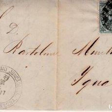 Sellos: CARTA COMPLETA CON SELLO 183 DEFECTUOSO -1877 DE GERONIMO JUNCADELLA EN BARCELONA . Lote 152245938