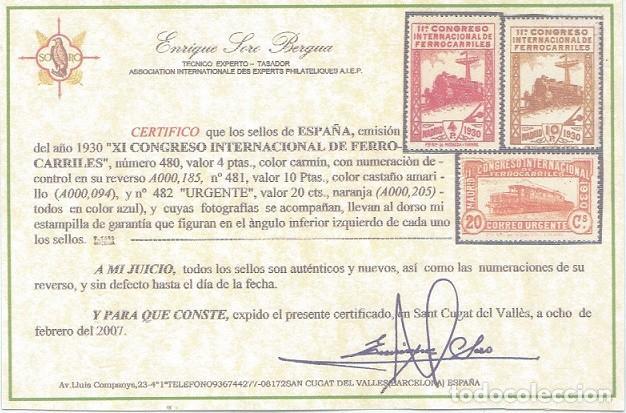 Sellos: EDIFIL 469/482.SERIE CONGRESO FERROCARRILES.CERTIFICADO SORO Y CMF.CATÁLOGO 1.960€ - Foto 7 - 146565050