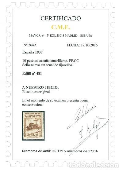 Sellos: EDIFIL 469/482.SERIE CONGRESO FERROCARRILES.CERTIFICADO SORO Y CMF.CATÁLOGO 1.960€ - Foto 8 - 146565050