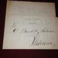Timbres: ENRIQUE CARPA, TORTOSA. CARTA CON MEMBRETE. FACTURA. 1875. Lote 148211086