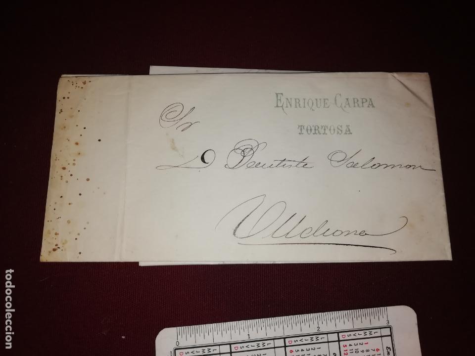 ENRIQUE CARPA, TORTOSA. CARTA CON MEMBRETE. FACTURA. 1875 (Sellos - España - Alfonso XII de 1.875 a 1.885 - Cartas)