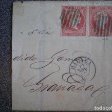 Sellos: MITAD DE SOBRE AÑO 1857 PAREJA DE EDIFIL 48 FECHADOR MÁLAGA. Lote 149337800