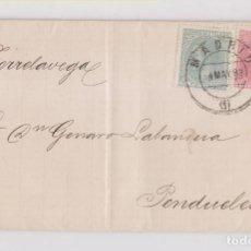 Timbres: CARTA ENTERA DE MADRID A PENDUELES, ASTURIAS. BONITO FRANQUEO. 1883. Lote 149602022