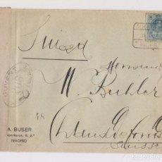Sellos: SOBRE CERTIFICADO ALCANCE. MADRID A SUIZA. CENSURA. 1917. Lote 150029978