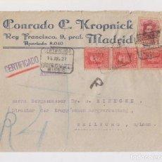 Sellos: SOBRE CERTIFICADO. DE MADRID A ALEMANIA. 1927. VAQUER.. Lote 150030590