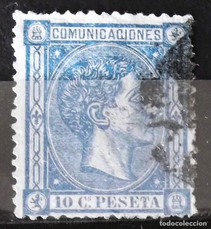 EDIFIL 164 A, USADO; COLOR: AZUL OSCURO. ALFONSO XII. (Sellos - España - Alfonso XII de 1.875 a 1.885 - Usados)