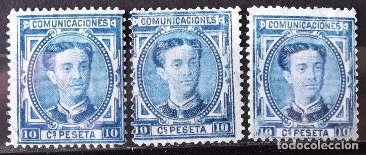 EDIFIL 175, TRES SELLOS, SIN MATASELLAR, SIN GOMA. ALFONSO XII. (Sellos - España - Alfonso XII de 1.875 a 1.885 - Nuevos)