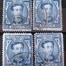 Sellos: EDIFIL 175A, CUATRO SELLOS, USADOS; COLOR AZUL OSCURO. ALFONSO XII.. Lote 151580110