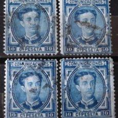 Sellos: EDIFIL 175A, CUATRO SELLOS, USADOS; COLOR AZUL OSCURO. ALFONSO XII.. Lote 151580210