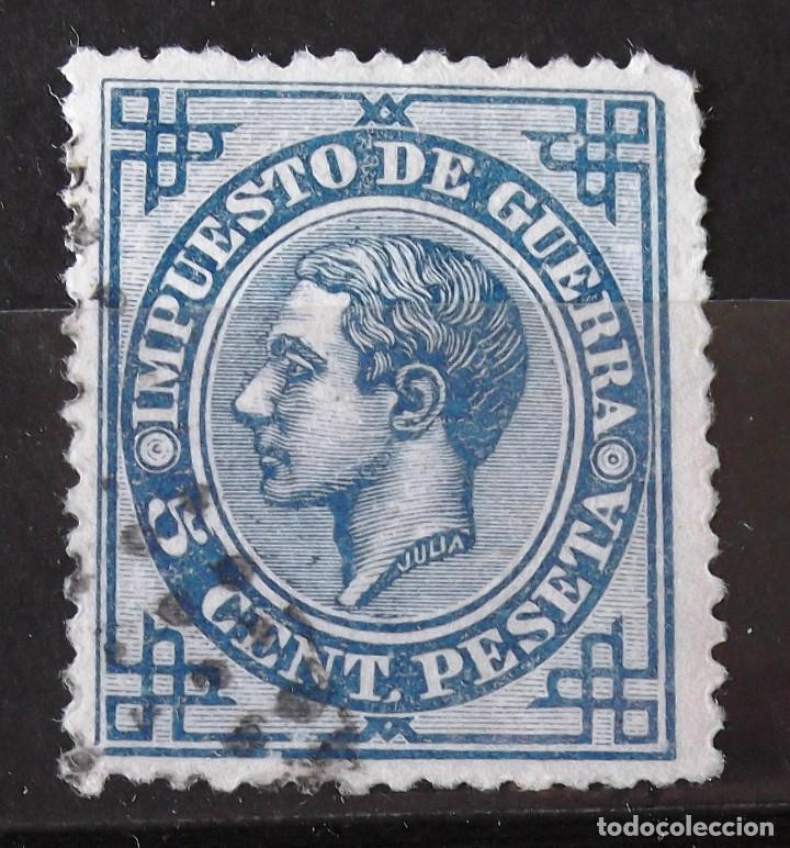 EDIFIL 183EC, USADO; COLOR AZUL. ALFONSO XII. (Sellos - España - Alfonso XII de 1.875 a 1.885 - Usados)