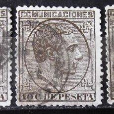Sellos: EDIFIL 192, TRES SELLOS, USADOS; MATASELLOS DE FECHA. ALFONSO XII.. Lote 151833042