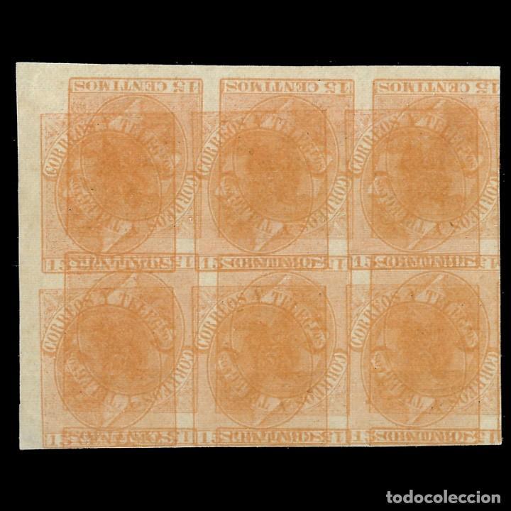 MACULATURA.SELLOS. ESPAÑA.1882 ALFONSO XII. GG6.BLOQUE DE 6 . 15C NARANJA. EDIF. Nº 210 (Sellos - España - Alfonso XII de 1.875 a 1.885 - Nuevos)