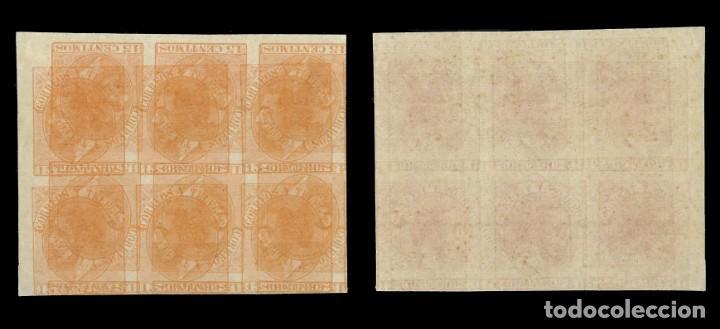 Sellos: Maculatura.Sellos. España.1882 Alfonso XII. GG6.Bloque de 6 . 15c naranja. Edif. Nº 210 - Foto 3 - 153157346