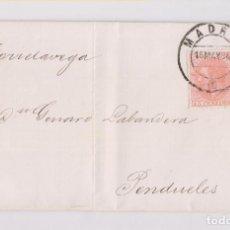 Timbres: CARTA ENTERA DE MADRID A PENDUELES, ASTURIAS. POR TORRELAVEGA. AÑO 1884. Lote 153495898