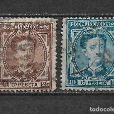 Sellos: ESPAÑA 1876 EDIFIL 174/175 USADOS - 3/8. Lote 155437886