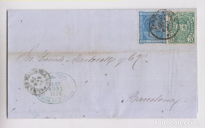 CARTA ENTERA. PALMA DE MALLORCA, BALEARES. 1876 (Sellos - España - Alfonso XII de 1.875 a 1.885 - Cartas)