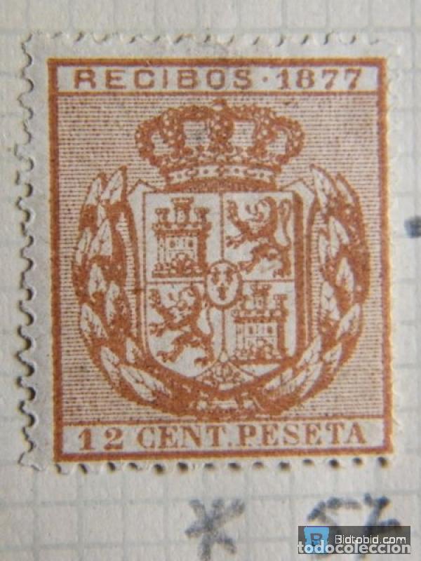 SELLO FISCAL RECIBOS ALFONSO XII 1877, 12 CÉNTIMOS (Sellos - España - Alfonso XII de 1.875 a 1.885 - Nuevos)
