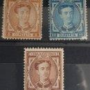 Sellos: AUTÉNTICOS SELLOS NUEVOS DE 1876 ALFONSO XIII EDIFIL 174,175,177. VALOR CATÁLOGO 35 EUROS. Lote 159404576