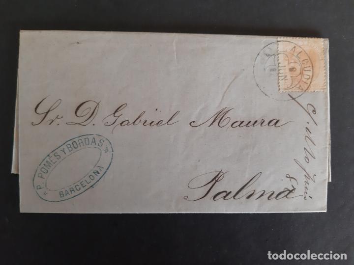 CIRCULADA Y ESCRITA 1882 DE BARCELONA X ALCUDIA A PALMA DE MALLORCA BALEARES FECHADOR LLEGADA (Sellos - España - Alfonso XII de 1.875 a 1.885 - Cartas)