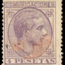 Sellos: ESPAÑA EDIFIL 198 (º) 4 PESETAS VIOLETA ALFONSO XII 1877 NL045. Lote 160459798