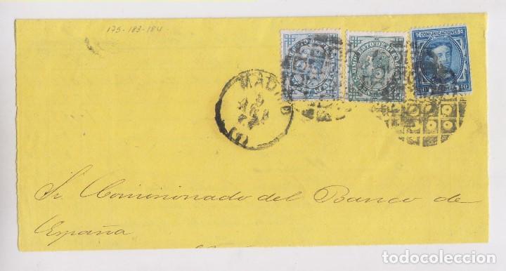 FRONTAL. RARO FRANQUEO CON SELLOS DE 5 Y 10 CTS. DE IMPUESTO DE GUERRA. (Sellos - España - Alfonso XII de 1.875 a 1.885 - Cartas)