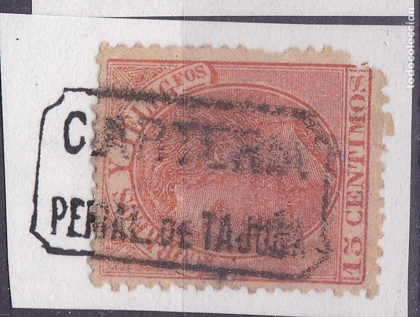 VV16-ALFONSO XII MATASELLOS CARTERÍA PERAL DE TAJUÑA MADRID (Sellos - España - Alfonso XII de 1.875 a 1.885 - Usados)