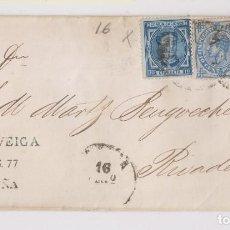Sellos: ENVUELTA. DE CORUÑA A RIBADEO, LUGO. GALICIA. 1877. IMPUESTO DE GUERRA DE 5 Y 10 CTS.. Lote 167063592