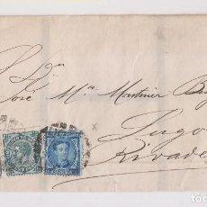Timbres: ENVUELTA. SANTANDER A RIBADEO, LUGO. 1877. IMPUESTO DE GUERRA DE 5 Y DE 10 CTS.. Lote 167064732