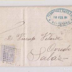 Sellos: CARTA ENTERA DE SANTANDER A SALAS, ASTURIAS. 1881. Lote 167065116