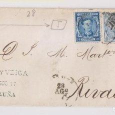 Sellos: ENVUELTA. CORUÑA A RIBADEO, LUGO. GALICIA. 1877. IMPUESTO DE GUERRA DE 5 Y 10 CTS. Lote 167071320