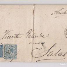 Sellos: CARTA ENTERA. TARRAGONA A SALAS, ASTURIAS. 1876.IMPUESTO DE GUERRA. Lote 167072564