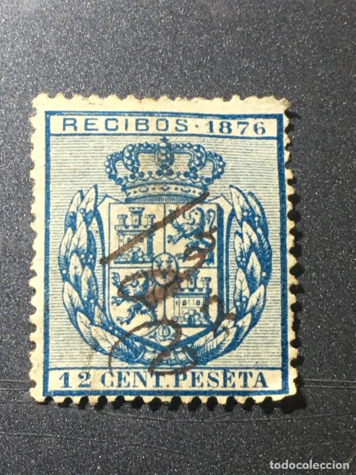 RECIBOS 1876 EN AZUL ALFONSO XII 12 CÉNTIMOS DE PESETA (Sellos - España - Alfonso XII de 1.875 a 1.885 - Usados)