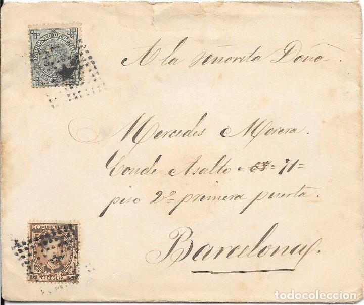 1876. EDIFIL Nº 174 - 183. SOBRE CIRCULADO EN EL CORREO INTERIOR DE BARCELONA. (Sellos - España - Alfonso XII de 1.875 a 1.885 - Cartas)