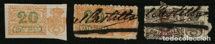 AYUNTAMIENTO DE MADRID. RECARGO MUNICIPAL. 1876-1877. 3 VALORES (Sellos - España - Alfonso XII de 1.875 a 1.885 - Usados)