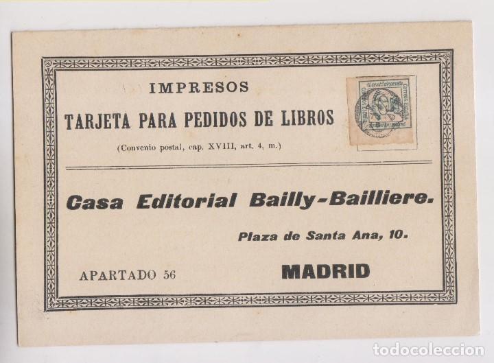 DÍPTICO IMPRESOS. CUARTILLO CON RARÍSIMO MATASELLOS. 1910. PEDIDO DE LIBROS (Sellos - España - Alfonso XII de 1.875 a 1.885 - Cartas)