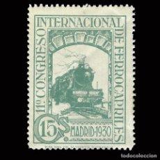 Sellos: SELLOS. ESPAÑA.1930. CONGRESO INTERNACIONAL DE FERROCARRILES. 15C.VERDE AZUL .EDIFIL.Nº 473. Lote 171099764