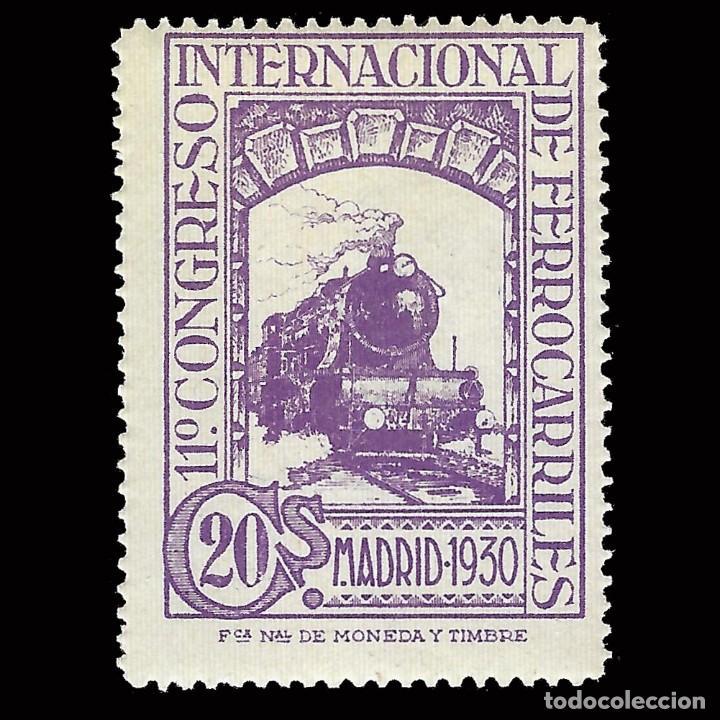SELLOS. ESPAÑA. 1930. CONGRESO INTERNACIONAL DE FERROCARRILES. 20C.VIOLETA. NUEVO** .EDIFIL 474 (Sellos - España - Alfonso XII de 1.875 a 1.885 - Nuevos)