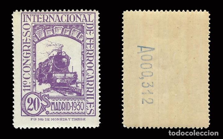 Sellos: Sellos. España. 1930. Congreso Internacional de Ferrocarriles. 20c.violeta. Nuevo** .Edifil 474 - Foto 2 - 171102908