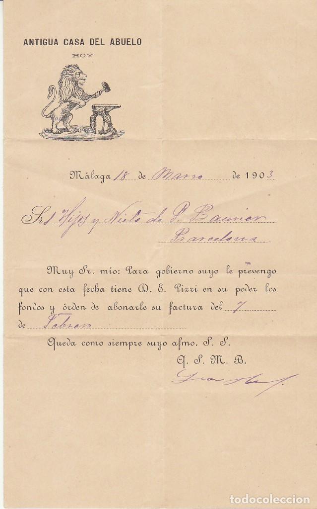 Sellos: Sello 173a. MALAGA a BARCELONA.1903. - ANTIGUA CASA DEL ABUELO- - Foto 3 - 261856035