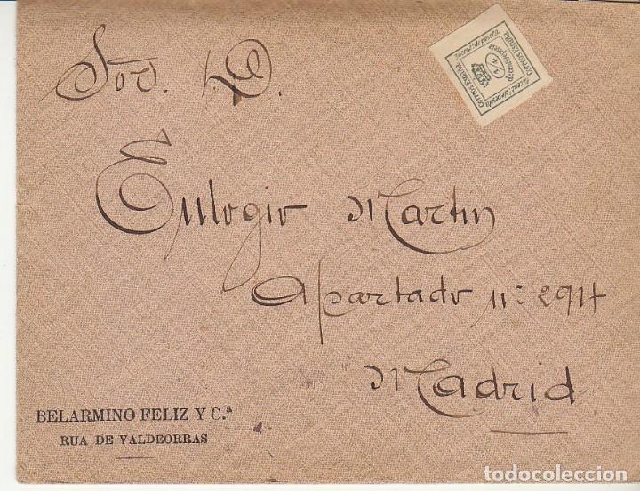 SELLO 173A. ALFONSO XII. .RUA DE VALDEORRAS (ORENSE) A MADRID.1907.BONITO FRANQUEO TEXTO COMPLETO VE (Sellos - España - Alfonso XII de 1.875 a 1.885 - Cartas)