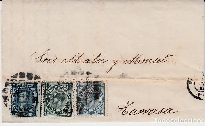CARTA ENTERA CON SELLOS NUMS 175-183-184 DE VALLADOLID -1877 CON MATAS.TALADRO LIMADO-ETIQUETA DORSO (Sellos - España - Alfonso XII de 1.875 a 1.885 - Cartas)