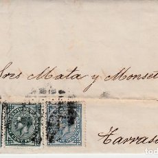 Sellos: CARTA ENTERA CON SELLOS NUMS 175-183-184 DE VALLADOLID -1877 CON MATAS.TALADRO LIMADO-ETIQUETA DORSO. Lote 171769863
