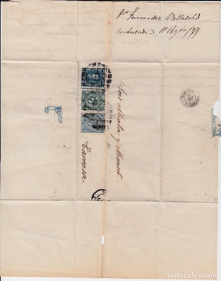 Sellos: CARTA ENTERA CON SELLOS NUMS 175-183-184 DE VALLADOLID -1877 CON MATAS.TALADRO LIMADO-ETIQUETA DORSO - Foto 5 - 171769863