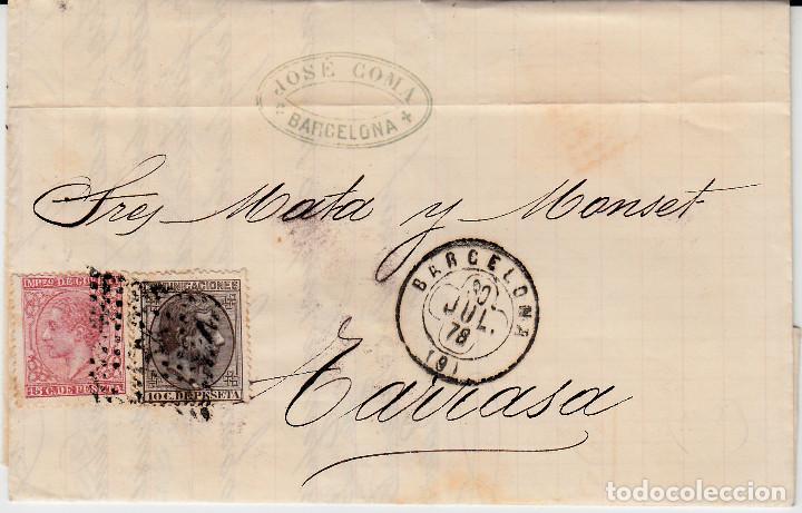 CARTA COMPLETA CON SELLOS NUMS 188 Y 192 DE JOSE COMA EN BARCELONA 1878 MATASELLOS ROMBO Y TREBOL (Sellos - España - Alfonso XII de 1.875 a 1.885 - Cartas)