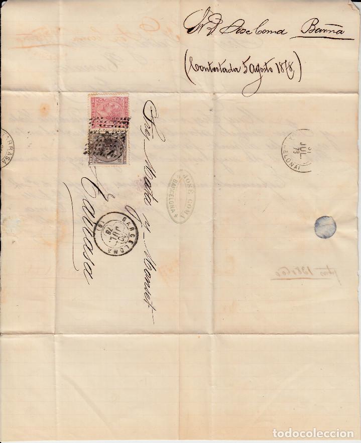 Sellos: CARTA COMPLETA CON SELLOS NUMS 188 Y 192 DE JOSE COMA EN BARCELONA 1878 MATASELLOS ROMBO Y TREBOL - Foto 2 - 171793500