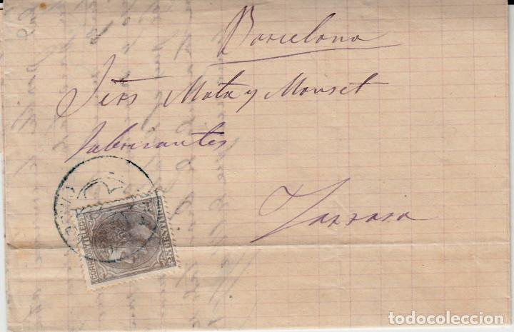 CARTA COMPLETA CON NUM. 204 DE GANDIA CON MATASELLOS DE TREBOL AZUL Y TREBOL DE SAGUNTO -1880 (Sellos - España - Alfonso XII de 1.875 a 1.885 - Cartas)